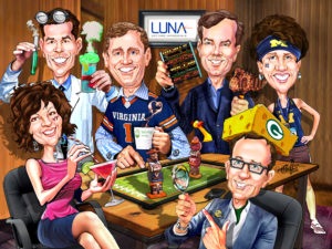 6 faces with full bodies and backgrounds corporate team caricature